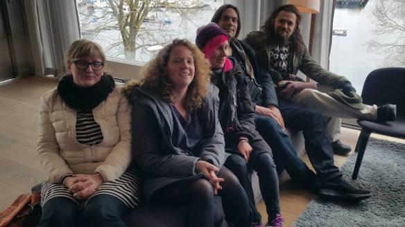 Och här är författarna som deltog i North Sea Writers' Exchange: Thordis Gisladottir (Island), Chloe Daykin (England), Louise Halvardsson (Sverige), Peter Ekberg (Sverige) och Gunnar Theodor Eggertson (Island).