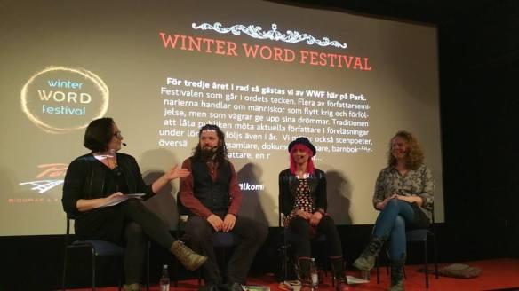 Jessica Schiefauer leder samtalet Reality, horor and drama med mig, Gunnar Theodor Eggertsson och Chloe Daykin