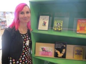 Louise Halvardsson på författarbesök på Kungshögsskolan i Ljungby. Foto: Frida Karlsson